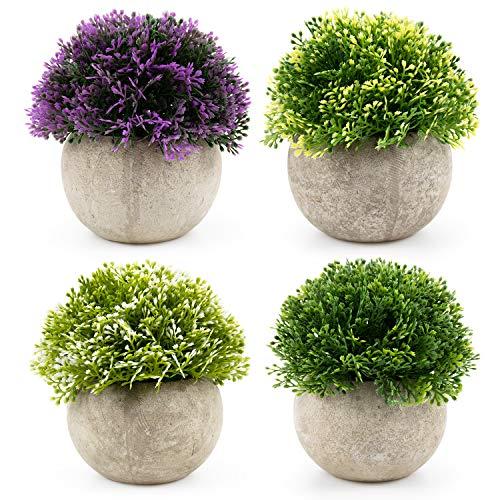 (Fasmov Mini Fake Plants Plastic Green Grass of Plants with Pots - Set of 4 )
