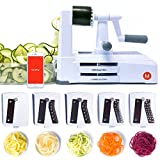 Mealthy 5-Blade Spiralizer Vegetable Slicer with Catch & Store Container - Heavy Duty & Easy to Use for Healthy, Low Carb, Paleo, Gluten-Free Recipes