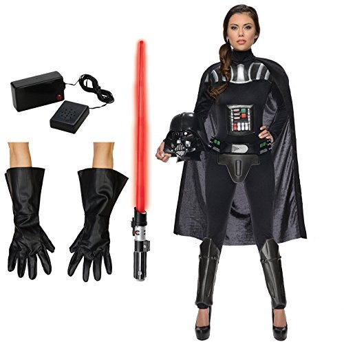 Star Wars Darth Vader Costume Bundle Set - Female Adult Small Costume, Gloves, Lightsaber, and Breathing -