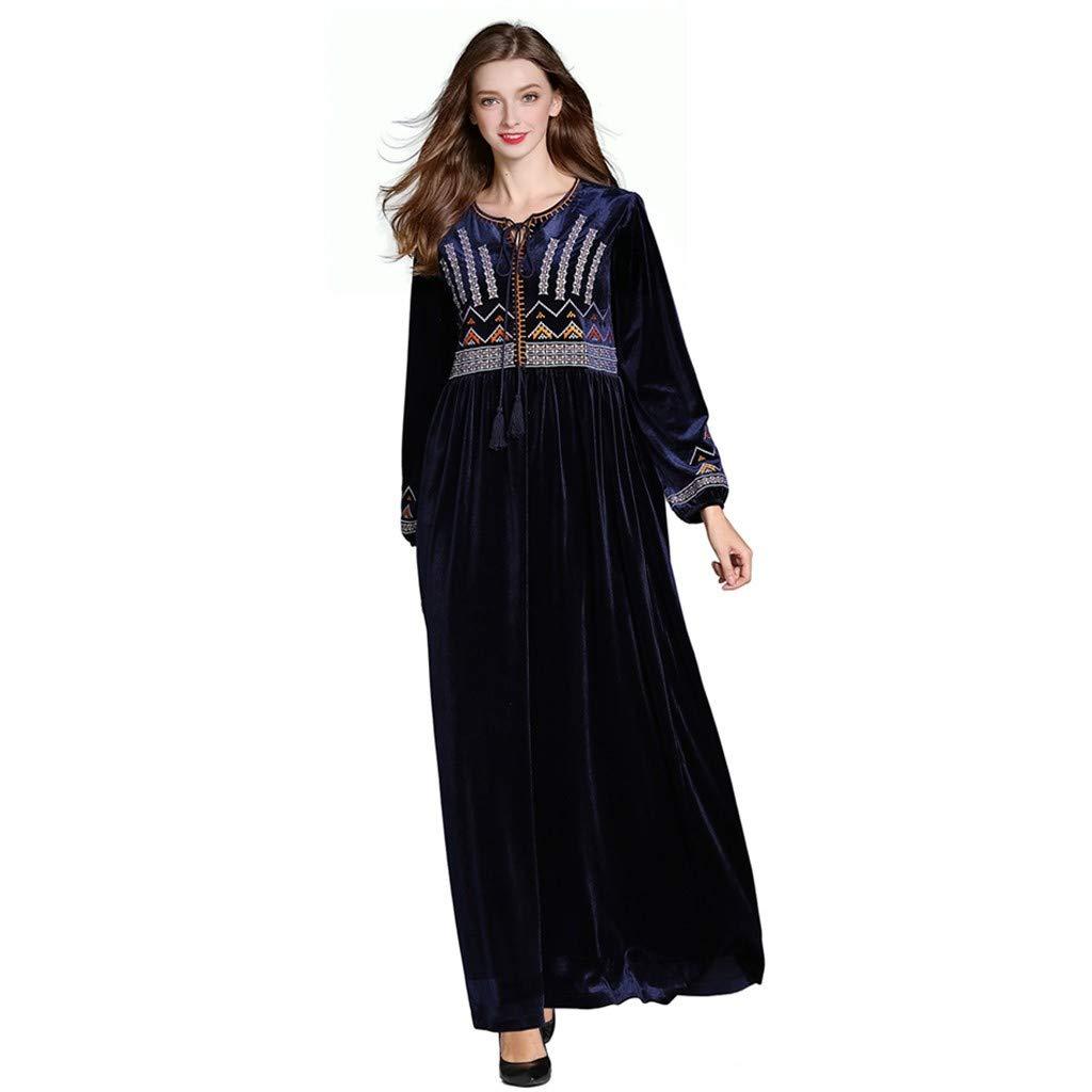 NPRADLA Large Falda Vestido de Abaya de Manga Larga con ...
