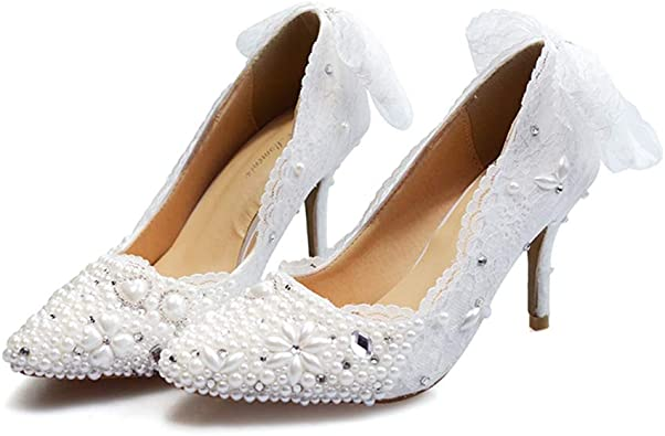Sparrow Handmade Wedding Dress Shoes High Heel Platforms Pearl Bridal Shoes Banquet Party Prom Pumps