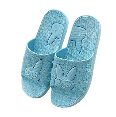 Nanxson(TM) Unisex PVC Antiskid Cartoon Bunny Bath Slipper TX0002 (40-41, light blue) (Kids Hobbit Feet)