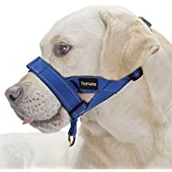 FOMATE Quick-Fit Dog Muzzle Lead Collar with Adjustable Sections, Quick Release Strap, and High Visibility Safety Reflective Stripes (Large,Reflective Blue)