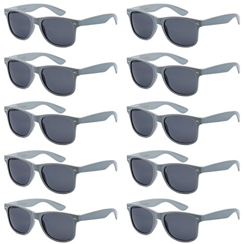 WHOLESALE UNISEX 80'S STYLE RETRO BULK LOT SUNGLASSES (Cool Gray, Smoke) -