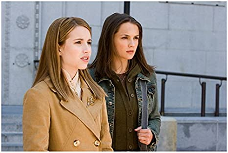 Nancy Drew Emma Roberts In Brown Coat Standing Outside Of Building With Rachael Leigh Cook 8 X 10 Inch Photo At Amazon S Entertainment Collectibles Store