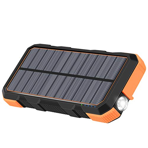 Solar Charger 26800mAh Hiluckey 18W Power Bank with 3.0A Outputs-Type-C Waterproof Battery Pack for Smartphones, Tablets, MacBook (Best Type Of Solar Cells)
