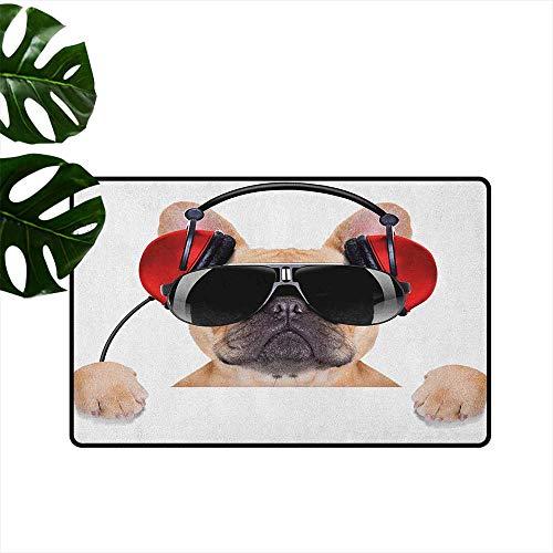 (RenteriaDecor Popstar Party,Entrance Door Mat Dj Bulldog with Headphones Listening to Music Behind White Banner 36
