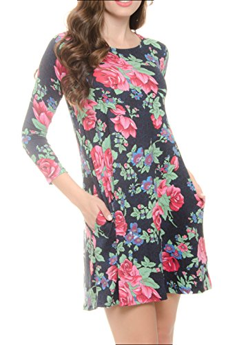 - Black Red Green Long Sleeve Casual Dresses with Pockets for Woman Floral Print Peach Skin B36 | US 8 | Medium 055-02