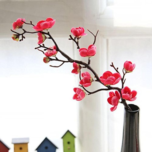 Artificial Flower Decor, Neartime Hot Sale Artificial Plum Blossom Branches Flowers Stems Silk Fake Floral Bouquet for Home Wedding Party Decoration (Hot Pink) -