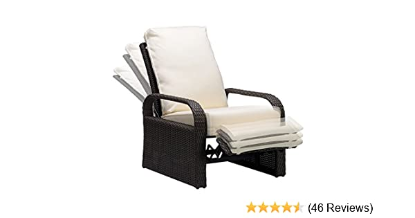 Babylon Outdoor Recliner Wicker Patio Adjustable Recliner Chair with 5.11