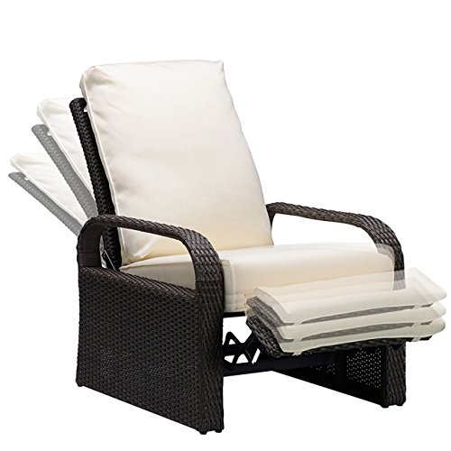 Outdoor Patio Recliner Wicker Adjustable Chair, Rust-Resistant Aluminum Frame, with 5.11'' Cushions - Grey & Beige by Babylon