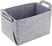 Storage Basket Felt Storage Bin Collapsible & Convenient Box Organizer with Carry Handles for Office Bedro