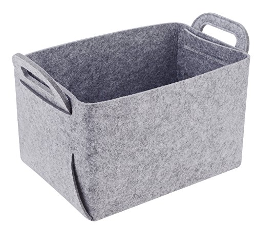 Storage Basket Felt Storage Bin Collapsible & Convenient Box Organizer with Carry Handles for Office Bedroom Closet Babies Nursery Toys DVD Laundry Organizing ()