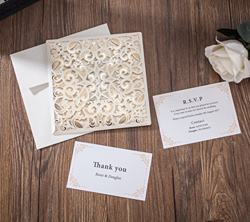 Wishmade 50x Laser Cut Lace Invitations Cards Kit With Matched Thank You Card and RSVP Card For Wedding Party Birthday Occasion CW6109