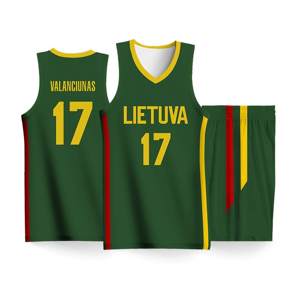 185~185cm//80~90kg 2019 Basketball Jersey Weltcup Lietuva Team Wettbewerb Herren Basketball Wear # 17 Valanciunas Atmungsaktive Weste Sport Top Hosen,2XL