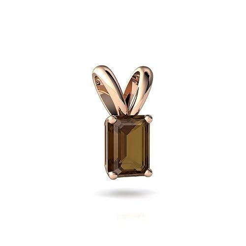 14kt Gold Smoky Quartz 7x5mm Emerald_Cut Solitaire Pendant