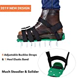 Ohuhu Lawn Aerator Shoes, Heavy Duty Spike Aerating Lawn Soil Sandals with 4 Adjustable Buckles Straps, Gardening Tool to Loosen The Soil & Promote Root Growth