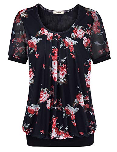 Timeson Women's Work Tops, Junior Ladies Tops and Blouses Round Neck Mesh Floral Business Shirt Maternity Plus Size Work Dresses for Office Work Wear Elastic Bottom Tunics Shirts Black Red ()