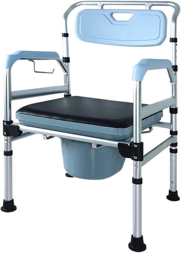 Froadp - Silla de baño con ruedas (altura regulable con respaldo y asiento de inodoro antideslizante)