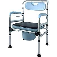 AUFUN Toilettenstuhl höhenverstellbar Ergonomische Rückenlehne - klappbar Aluminiumlegierung toilettenrollstuhl - für Behinderte Person, ältere Menschen und schwangere Frauen
