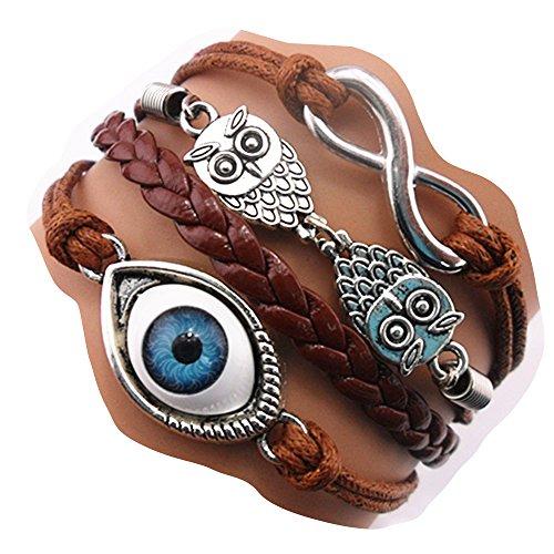 Handmade Fashion Infinity Eye Owls Charm Friendship Gift - Braid Suede Personalized Leather Bracelet - Brown -