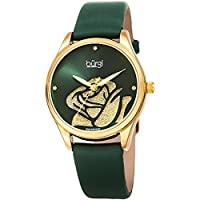 Burgi Women's BUR189GN Rose Cut-Out Dial with Glitter Powder Green Satin Over Leather Strap Watch