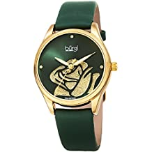 Burgi Women's Diamond Accented Rose Cut-Out Dial with Glitter Powder Satin Over Leather Strap Watch - BUR189 (Green)