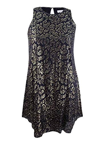 Calvin Klein Women's Metallic Animal-Print Chiffon Dress (2, Black/Gold)