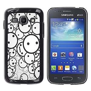 KLONGSHOP // Cubierta de piel con cierre a presión Shell trasero duro de goma Protección Caso - Smiley Patrón - Samsung Galaxy Ace 3 //