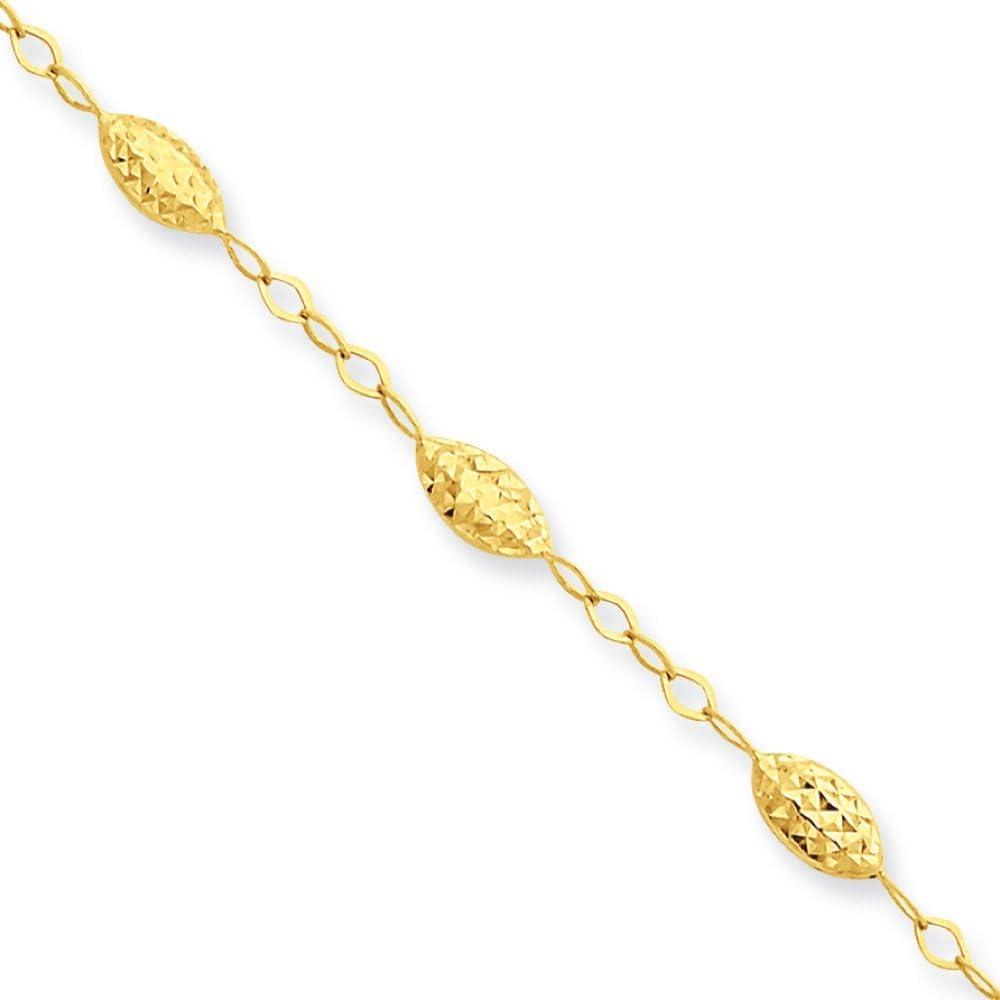 10 14K Yellow Gold Adjustable with 1 Extender Fancy Link Anklet Bracelet