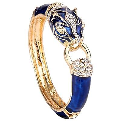 EVER FAITH Austrian Crystal Enamel Vintage Inspired Leopard Animal Bangle Bracelet Gold-Tone