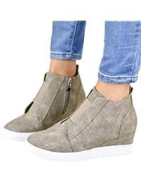 Womens Wedge Sneakers Fashion High Top Side Zipper...
