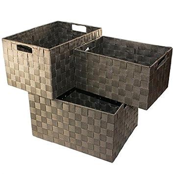 XXL Aufbewahrungsbox 3er Set Badezimmer Kiste Korb geflochten Kiste  Kosmetik Box, Farbe:Braun