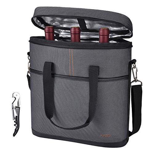 (Tirrinia Insulated Wine Carrier - 3 Bottle Travel Wine Carry Cooler Tote Bag with Handle and Adjustable Shoulder Strap + Free Corkscrew, Gray)