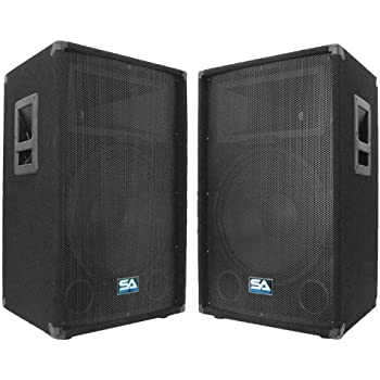"Seismic Audio - Pair of 15"" PA DJ Speakers 700 Watts PRO Audio - Mains, Monitors, Bands, Karaoke, Churches, Weddings"