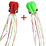kites for kids - Hengda Kite-Pack 2 Colors(Red&Green)Beautiful Large Easy Flyer Kite for Kids-software octopus-It's BIG! 31 Inches Wide with Long Tail 157 Inches Long-Perfect for Beach or Park by Hengda kite