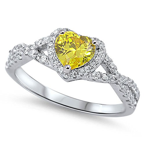 (Heart Yellow Simulated CZ Halo Promise Ring .925 Sterling Silver Infinity Band Size 6)