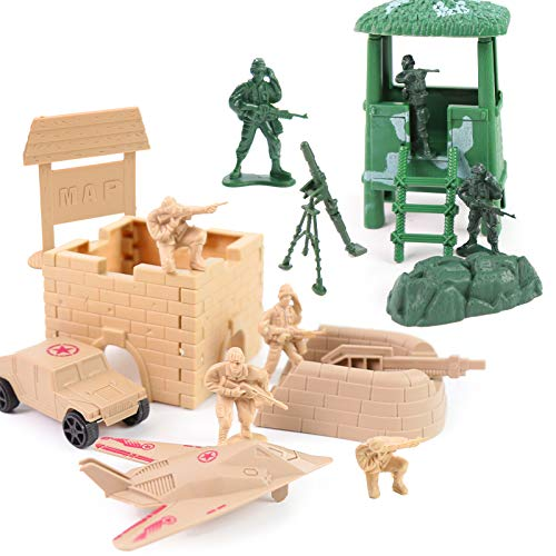 3 otters Military Figures and Accessories, 130 PCS Army Men Toys for Boys Military Soldier Playset Army Set Military Aircraft Car Military Map Pretend WWII Army Base