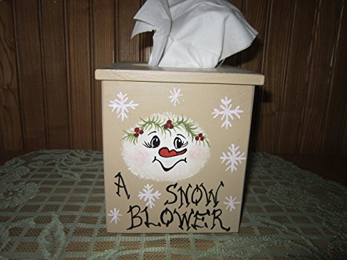 (FREE SHIPPING!!Handmade and Hand Painted Wood Tissue Holder.Snowman,Christmas Gift,Teacher Gift)