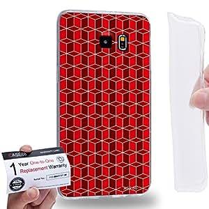 Case88 [Samsung Galaxy S6 Edge Plus] Gel TPU Carcasa/Funda & Tarjeta de garantía - Art Fashion Red Geometric 3D Blocks 2194