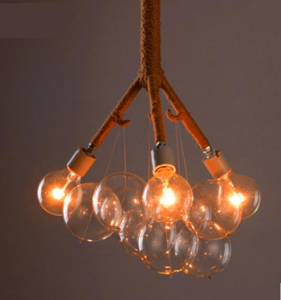FWEF Hanf-Glas-Kronleuchter Nostalgischen Kreative Mode Restaurant Schlafzimmerbeleuchtung Studie Retro Hanfseil Lampen
