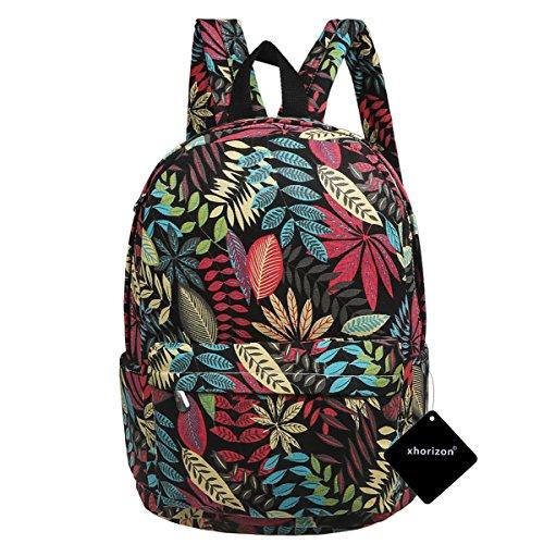 (xhorizon FL1 Cute Preschool Book Bag Girls Laptop Backpack for Kids Daypack Rucksack, Colorful Leaves-Black)
