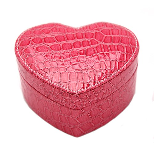 KUKI SHOP 2-Layer Synthetic Leather Heart Shaped Mini Portable Jewelry Display Storage Organizer Box Case with Mirror for Necklace Earrings Bracelets Hairpieces Rings Brooches (Rose)