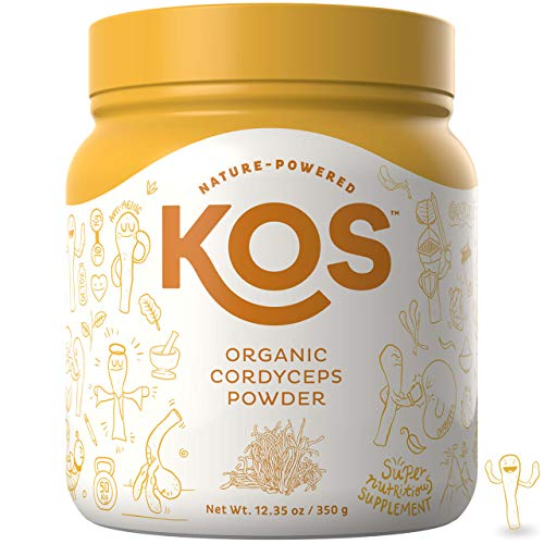 KOS Organic Cordyceps Powder | Endurance & Immunity Enhancing Cordyceps Mushroom Powder | USDA Organic, Energy Supporting Plant Based Ingredient, 350g, 70 Servings ()