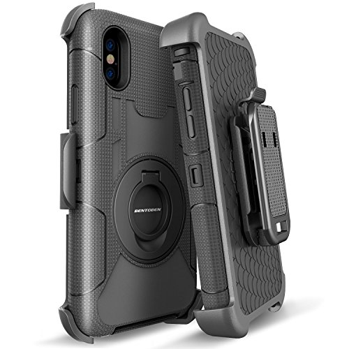 iPhone X Case, BENTOBEN Rugged iPhone X Holster Case W/ Belt Clip Kickstand Cover [Support Wireless Charging] Heavy Duty Shockproof Hybrid Full Body Protective Phone Cases for iPhone X /10 2017, Black