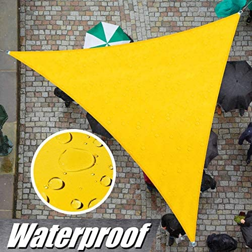 ColourTree Custom Size 15 x 24 x 28.3 Yellow TADT16 Triangle Waterproof Sun Shade Sail Canopy Awning Shelter, 95 UV Block Water Resistant, Garden Carport Outdoor Patio We Customize