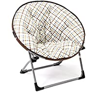 Mac Sports Flat Fold Moon Chair - Kids Papasan in Choice of Colors (Plaid)