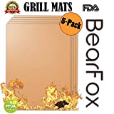 Copper BBQ Grill & Baking Mats 5 Pack - 100% Non-stick, FDA-Approved, PFOA Free, Reusable and Easy to Clean - Works on Gas, Charcoal, Electric Grill and More - 1575 x 13 Inch