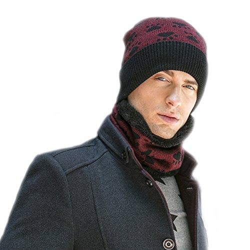 para rojo Gorro Cap Hat Gorra bufanda vino los Forro Fleece BaronHong hombres 0qS4TT