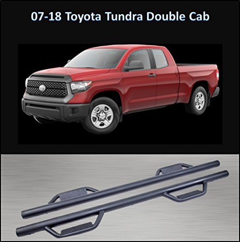 CONEXT Hoop Style Dropped Steps Textured Nerf Bars for 2007-2018 Toyota Tundra Double Cab 289-TX-73